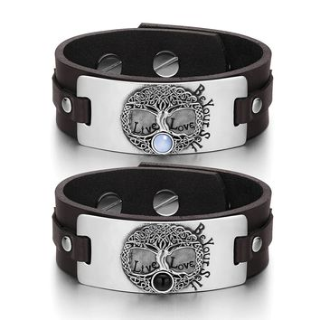 Tree of Life Celtic Powers Couples Blue Simulated Cats Eye Simulated Onyx Brown Leather Bracelets