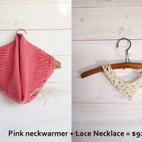 Cyber Monday sale, Cowl pink felt and Statement lace necklace. Black friday Etsy /// Ready to ship ////