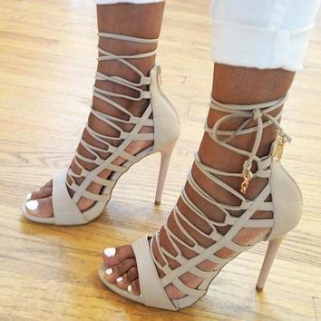 Sexy Lace Up Cut Out PU High Heel Sandals