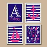 Girl Nautical Navy Blue Pink Monogram Sailboat Sea Anchor Ocean Alphabet Set of 4 Prints Wall Baby Decor Art Crib Nursery Child