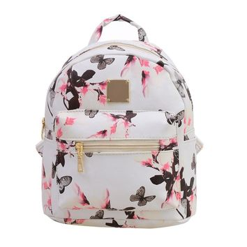 Floral Leather Backpack