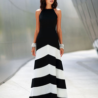 Black Stripe Maxi Dress - Choies.com