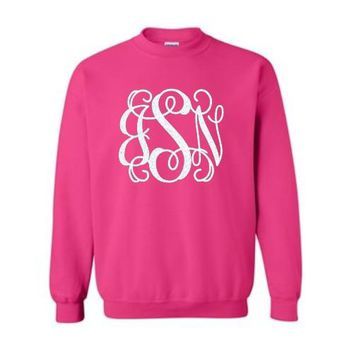 Crewneck Sweatshirt With Large Glitter Monogram (Black Friday Sale!)