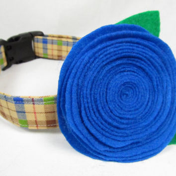 Designer Dog Collar and Flower  -Brown and Blue Plaid and blue felt flower - Spring dog collar, green dog collar, cute dog collar