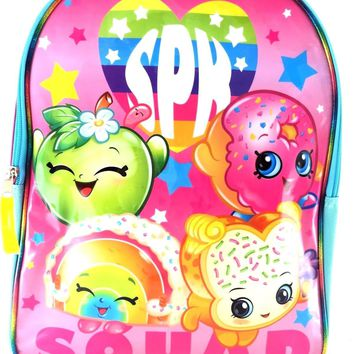 "Licensed New Moose 15"" Shopkins Blue and Pink Squard Cordura Glossy Backpack"
