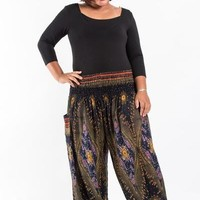 Plus Size Peacock Eye Women's Harem Pants in Black