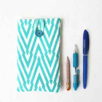 Blue Iphone 6 plus case, hand printed fabric, Sony Xperia Z ultra, IPhone case, smart phone cover, fabric phone sleeve, handmade in the Uk