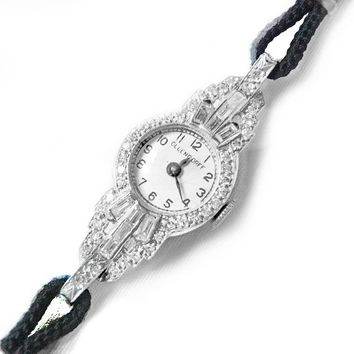 Art Deco 1920s Ollendorff Watch Platinum and Diamonds Fantastic Design Approx. 1.35 ct Diamonds