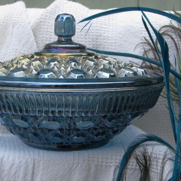 Vintage Blue Carnival Indiana Glass Covered Dish-Mint and Gorgeous -epaTeam