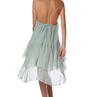 Green cheesecloth swing dress