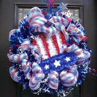 Stars and Stripes Patriotic Wreath, Mesh 4th Of July Wreaths, Outdoor Wreaths Patriotic