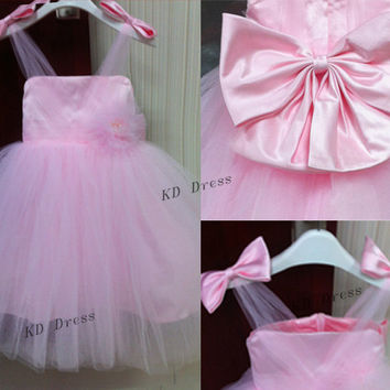 On Sale Princess Tulle Skirt Pink Flower Girl Dress Junior Bridesmaid Dress Children Birthday Party Dress Kids Dress With Bow/Flower