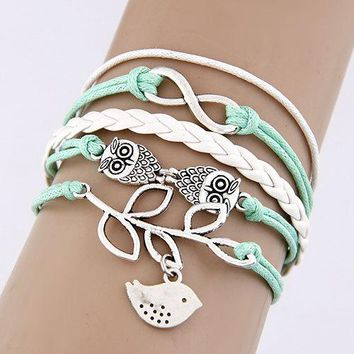 Multi 5 Layer Infinity, Owl, Bird Charms Wrap Bracelet Faux White/Mint Leather/Suede