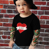 Black Tattoo Sleeve T shirt with Dad or Mom heart applique for Babies and Toddlers