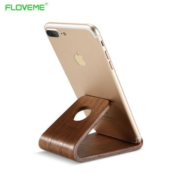FLOVEME Natural Wood Tablets Stand Holder for iPad mini 4 3 2 1 Air 1 2 for iPhone 6 6S 7 5S For Xiaomi redmi note 3 pro Mate 9