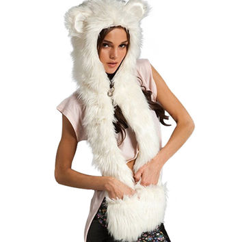 Fashion Warm Winter Scarves Faux Animal Fur Hat Fluffy Scarf Shawl Glove Plush Cap Gloves Hats Xmas a2 Q1