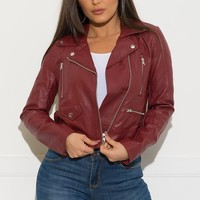 Galileah Faux Leather Jacket - Burgundy