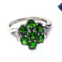 Russian Chrome Diopside white topaz ring 2.89 ctw  size 8 Sterling