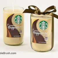 Starbucks Coffee Decor 2 Frappuccino Coffee Candles Recycled Repurposed Eco Friendly Gift Green Coffee Wedding Gift