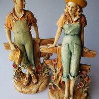 1940s chalkware figures young farm couple 14-inches J.W. Lindner