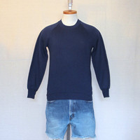 Vintage Deadstock 80s BLANK PLAIN Navy Blue Unisex Small Sweater Jumper 50/50 Crewneck SWEATSHIRT