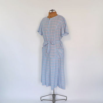 Size Large 1960s Heart Print Plaid Frock Dress Floral Cotton Sundress 1950's House Dress Country Folk Size Large Day Dress Retro Shirt Dress