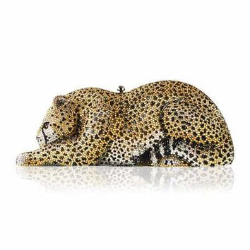 Judith Leiber Couture Crystal-Embellished Wildcat Clutch Bag, Ceylon/Multi