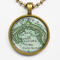 Personalized Panama Necklace -Panama Vintage map, Columbia -Vintage Map Pendant Series