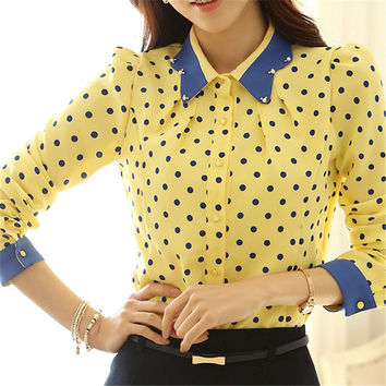 Korea Style Women Chiffon Lapel Polka Dots Blouse OL Slim Shirt S-XL