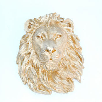 FAUX TAXIDERMY- Gold Lion Head Wall Mount - Faux Taxidermy L08
