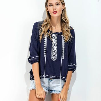 O Neck Tassel Embroidered Top