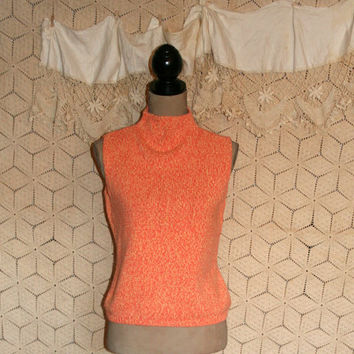 Vintage 90s Sleeveless Cotton Sweater Top Spring Summer Peach Orange Sherbet Mock Turtleneck Casual Knit Preppy Talbots Small Women Clothing