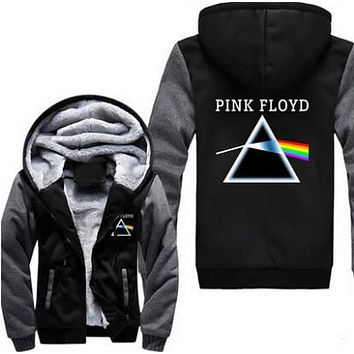 New Winter Jackets and Coats Pink Floyd hoodie Thick Zipper Men Sweatshirts Size S-3XL