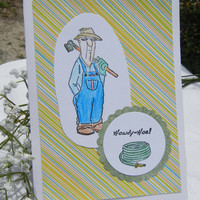 Gardener Card, Handmade Card with Gardener Holding a Hoe, Farmer Design, Blank Card that Can Be Personalized (See Options as Described)