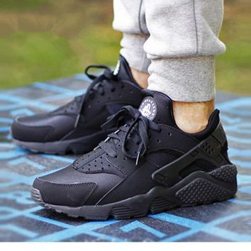 """NIKE""AIR Huarache Running Sport Casual Shoes Sneakers pure black-white logo H"