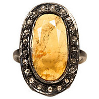 Citrine & Diamond Ring w/ Rhodium Finish