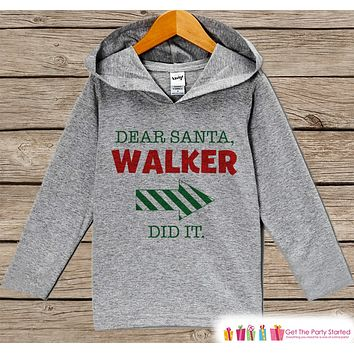 Funny Dear Santa Christmas Sweater - Kids Holiday Outfit - Grey Kids Hoodie Pullover - Santa Pictures - Family Outfits, Sibling Shirts