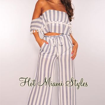 Blue White Striped Off Shoulder Tassel Palazzo Two Piece Set