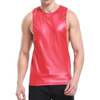 Brand Mens Leather Sports Underwear Breathable Loose Running Fitness Tank Tops Gyms Clothing Bodybuilding Vest