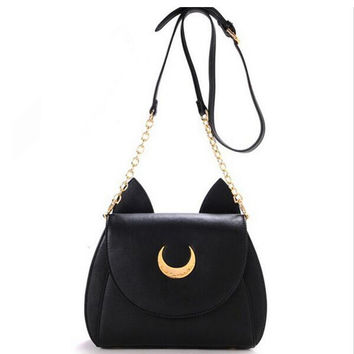 Cheap Sailor Moon Chain Shoulder Bag Ladies Luna Cat PU Leather Handbag Women Messenger Crossbody Small Bag Cute LWW0105
