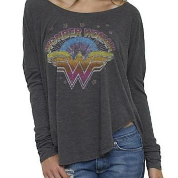 Junk Food Wonder Woman Retro Vintage Inspired Long Sleeve Drape Juniors Blackwash T-Shirt - Wonder Woman - | TV Store Online