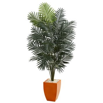 6.5' Paradise Artificial Palm Tree in Orange Planter