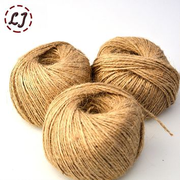 100meter/lot width 1.5mm Shabby Chic Natural Jute Twine Rustic String Cords Hemp rope Wrap Craft Making Decor Rope