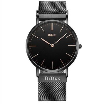 ICIK8TS BIDEN Watch Mens Women Luxury Stainless Steel Magnetic Mesh Milanese Bracelet Waterproof Watch