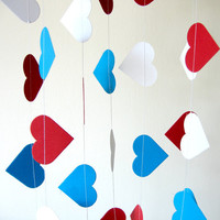 American paper heart garland, 4th of July Garland, Independence Day, bright home decor, party decor, children room decor