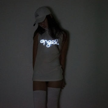 Light Up Mock Neck Top, 90's Top, Neon Sign Top,  90's Angel Top, Minimalist, Health Goth, Aesthetic, Tumblr, Size Small Beta Version
