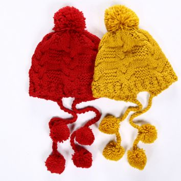 Solid Color Twist Tassel Hairball Manual Knit Beanie Hat Winter Accessories