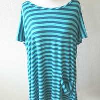 LOGO By Lori Goldstein 1X  Short Sleeve Rayon Blend Knit Top Teal & Aqua Striped