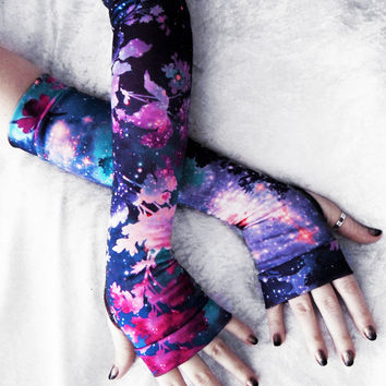 Galactic Garden Arm Warmers | Purple Plum Fuchsia Pink Blue Indigo Turquoise Floral Galaxy Cotton | Yoga Gothic Boho Cycling Light Fae Goth