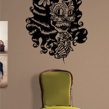 Day of the Dead Girl Version 3 Skull Art Decal Sticker Wall Vinyl
